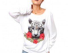 Trimmed Sweatshirt with Tiger Print Chicnova bester Fashion-Online-Shop aus China