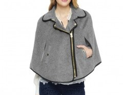 Zip Cape with Leather Look Trim Chicnova bester Fashion-Online-Shop aus China