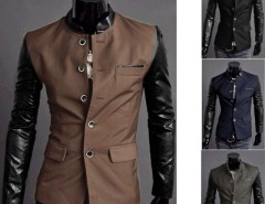 Men Synthetic Leather Splice Casual Suit Coat Jacket New 4 Colors/ Sizes Cndirect bester Fashion-Online-Shop aus China