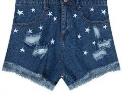 Ripped Denim Shorts with Embroidery Chicnova bester Fashion-Online-Shop aus China