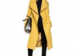 Longline Belted Coat in Yellow Chicnova bester Fashion-Online-Shop aus China