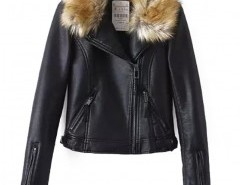 Quilted Biker Jacket with Faux Fur Collar Chicnova bester Fashion-Online-Shop aus China