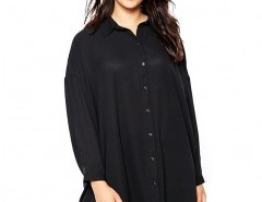 Plus Size Longline Blouse with Point Collar Chicnova bester Fashion-Online-Shop aus China