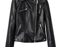 Faux Leather Biker Jacket with Stitch Detail Chicnova bester Fashion-Online-Shop aus China