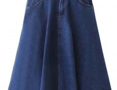 Preppy Style Denim Skirt with Pockets Chicnova bester Fashion-Online-Shop aus China