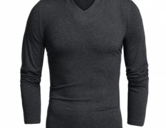 COOFANDY Men Long Sleeve V-Neck Pure Color Cotton Stretch Loose Casual Basic Tops T-shirt Cndirect bester Fashion-Online-Shop aus China
