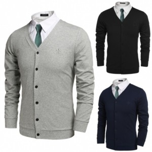 COOFANDY Men Fashion Casual V-Neck Long Sleeve Button Down Solid Cardigan Cndirect bester Fashion-Online-Shop aus China