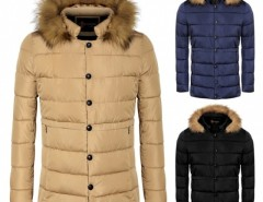 COOFANDY Men Casual Hooded Detachable Faux Fur Collar Parka Coat Outwear Cndirect bester Fashion-Online-Shop aus China