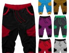 COOFANDY Men Fashion Casual Elastic Waist Drawstring Patchwork Contrast Color Training Jogger Sport Short Capri Baggy Pants Cndirect bester Fashion-Online-Shop aus China