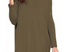 Army Green Round Neck Long Sleeve Plain Dress Choies.com bester Fashion-Online-Shop Großbritannien Europa