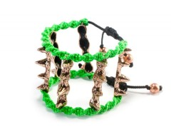 BRACELET - 6 x 4 SPIKES - GREEN Carnet de Mode bester Fashion-Online-Shop