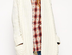 Beige Cable Pocket Detail Long Sleeve Cardigan Choies.com bester Fashion-Online-Shop Großbritannien Europa
