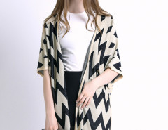 Beige Chevron Pattern Button Detail Knitted Cardigan Choies.com bester Fashion-Online-Shop Großbritannien Europa