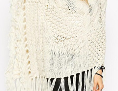 Beige Cowl Neck Cable Sheer Stitch Tassel Hem Cape Jumper Choies.com bester Fashion-Online-Shop Großbritannien Europa