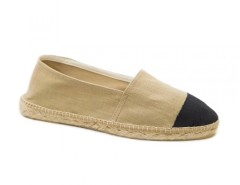 Beige Espadrilles with Black Toecap in Linen - El Botijo Carnet de Mode bester Fashion-Online-Shop