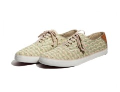 Beige Ethnic Printed Sneakers in Canvas - Robert Carnet de Mode bester Fashion-Online-Shop