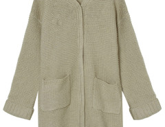 Beige Pocket Detail Long Sleeve Longline Knit Cardigan Choies.com bester Fashion-Online-Shop Großbritannien Europa