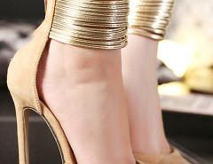 Beige Pointed Metallic Strap Zip Detail High Heeled Pumps Choies.com bester Fashion-Online-Shop Großbritannien Europa