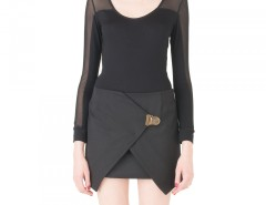 Black Asymetric Overlapping skirt Carnet de Mode bester Fashion-Online-Shop