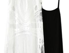Black Basic Vest And White Crochet Cut Out Tasseled Dress Choies.com bester Fashion-Online-Shop Großbritannien Europa