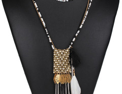 Black Bead Metallic Leaf And Feather Pendant Multirow Necklace Choies.com bester Fashion-Online-Shop Großbritannien Europa