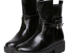 Black Buckle Strappy Asymmetric Ankle Boots Choies.com bester Fashion-Online-Shop Großbritannien Europa