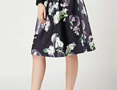Black Camellia Print Pleats High Waist Skirt Choies.com bester Fashion-Online-Shop Großbritannien Europa