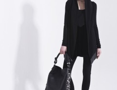 Black Cardigan with Synthetic Leather Details Carnet de Mode bester Fashion-Online-Shop