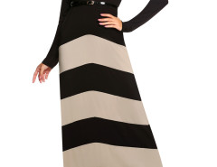 Black Contrast Chevron Print Belt Waist Maxi Dress Choies.com bester Fashion-Online-Shop Großbritannien Europa