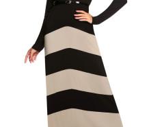 Black Contrast Chevron Print Belt Waist Maxi Dress Choies.com bester Fashion-Online-Shop Großbritannien Europa