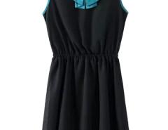 Black Contrast Doll Collar Sleeveless Pleat Dress Choies.com bester Fashion-Online-Shop Großbritannien Europa