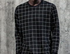 Black Contrast Grid Print Ribbed Sweatshirt Choies.com bester Fashion-Online-Shop Großbritannien Europa