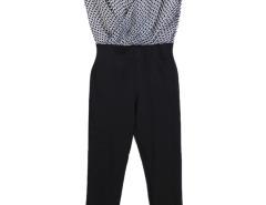 Black Contrast Stripe Cube Print Wrap Front Jumpsuit Choies.com bester Fashion-Online-Shop Großbritannien Europa