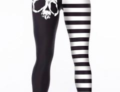 Black Contrast Stripe Skull Print Leggings Choies.com bester Fashion-Online-Shop Großbritannien Europa
