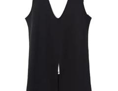 Black Contrast V-neck Split Front Vest Dress Choies.com bester Fashion-Online-Shop Großbritannien Europa