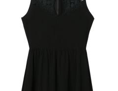 Black Crochet Cut Out Front Lace Trim Dress Top Choies.com bester Fashion-Online-Shop Großbritannien Europa