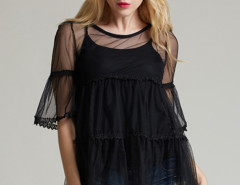 Black Crochet Lace Panel Flare Sleeve Blouse And Tight Vest Choies.com bester Fashion-Online-Shop Großbritannien Europa