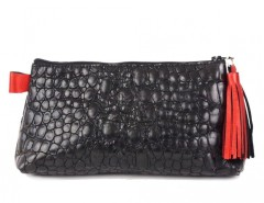 Black Croco Leather Purse With Red Leather Tassel Carnet de Mode bester Fashion-Online-Shop