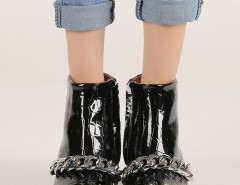 Black Crocodile Chunky Chain Zip Ankle Boots Choies.com bester Fashion-Online-Shop Großbritannien Europa
