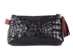 Black Croo Printed Leather Purse With Burgundy Leather Tassel Carnet de Mode bester Fashion-Online-Shop