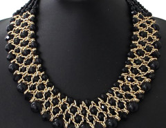 Black Crystal And Faux Pearl Collar Necklace Choies.com bester Fashion-Online-Shop Großbritannien Europa