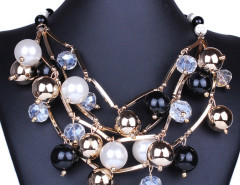 Black Crystal Bead Faux Pearl Statement Necklace Choies.com bester Fashion-Online-Shop Großbritannien Europa