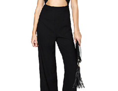 Black Cut Out Detail Wrap Palazzo Jumpsuit Choies.com bester Fashion-Online-Shop Großbritannien Europa