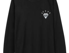Black Diamond And Letter Print Long Sleeve Sweatshirt Choies.com bester Fashion-Online-Shop Großbritannien Europa