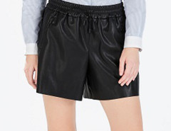Black Elastic Waist Zipper Detail PU Shorts Choies.com bester Fashion-Online-Shop Großbritannien Europa
