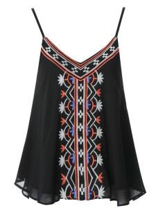 Black Embroidery Layer Cami Vest Choies.com bester Fashion-Online-Shop Großbritannien Europa