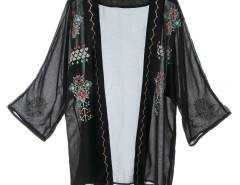 Black Embroidery Pattern Loose Kimono Choies.com bester Fashion-Online-Shop Großbritannien Europa