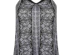 Black Front Mustache Print Mesh Panel Vest Choies.com bester Fashion-Online-Shop Großbritannien Europa