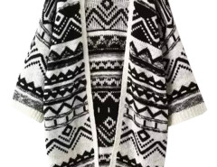 Black Geo Pattern Batwong Sleeve Tassel Open Front Cardigan Choies.com bester Fashion-Online-Shop Großbritannien Europa
