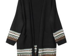 Black Geo Pattern Trim Longline Cardigan Choies.com bester Fashion-Online-Shop Großbritannien Europa